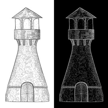Lighthouse. Hand drawn vintage sketch