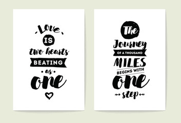Typography cards set. Wall mural