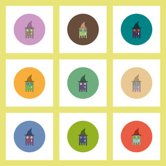 flat icons Halloween set of ghost in witch hat concept on colorful circles