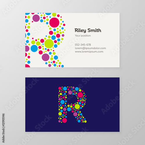 Quotmodern letter r circle business card templatequot stock for Circle business card template