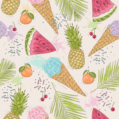 Cute seamless pattern with ice creams, pineapples. Vector backgr