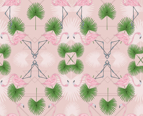 Cute hipster seamless pattern with flamingos and palm. Vector ba