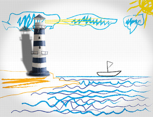 A lighthouse on a child's sketch with wax crayons
