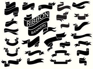 black ribbon banners design template