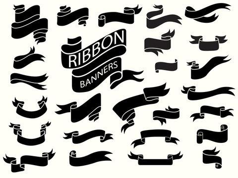 black ribbon banners design template