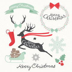 Vintage Christmas Elements. Wreath and Holidays symbols. Vectors illustration