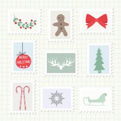 Christmas Postmark Collection. Vector Illustration