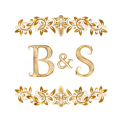 B&S vintage initials logo symbol. Letters B, S, ampersand surrounded floral ornament. Wedding or business partners initials monogram in royal style.