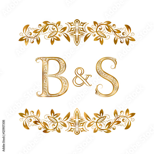 BS Vintage Initials Logo Symbol Letters B S Ampersand Surrounded Floral Ornament