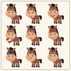 Vector set isolated emotion horse. Collection cute horse in cartoon style.