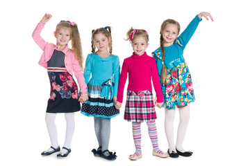 Group of fashion little girls