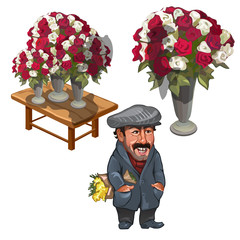 Funny man, seller of roses, vector character