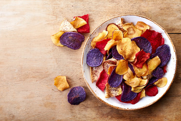 Healthy colorful vegetable chips