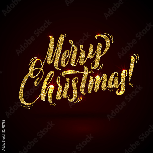 Gold Merry Christmas Card Golden Shiny Glitter Calligraphy Greeting Poster Template Black Background