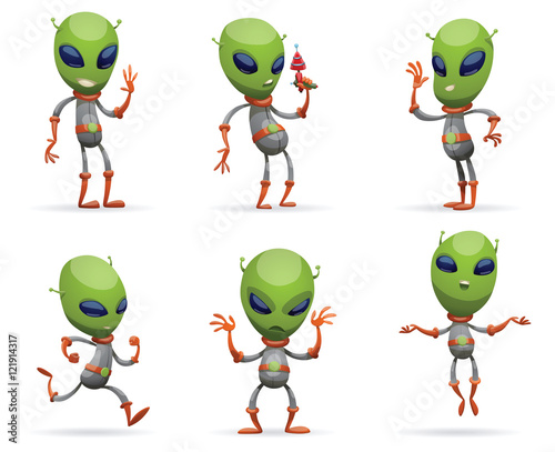 Vector Set Of Cartoon Images Funny Green Aliens With Big Eyes And Small Antennas On