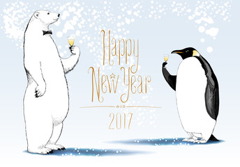 Happy New Year 2017 vector seasonal greeting card. Penguin, polar bear cute characters drinking glass o
