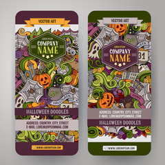 Cartoon cute colorful vector hand drawn doodles Halloween banners