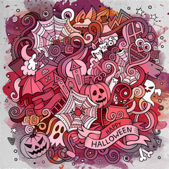 Cartoon cute doodles hand drawn Halloween illustration