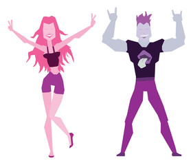 Vector set of cartoon images of a dancing girl with long pink hair in purple shorts and black tank top and dancing young man with purple hair in purple pants and black t-shirt on a white background.