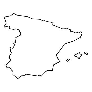 Black contour map of Spain