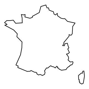 Black contour map of France