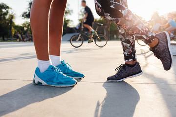 Couple in sportswear kissing
