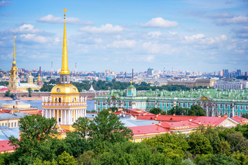 Aerial view of Admiralty tower and Hermitage, St Petersburg, Russia