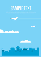 Background template with flying white airplane in blue sky over city. City skyline vector illustration with space for text. Urban landscape. Blue city silhouette. Cityscape in flat style.