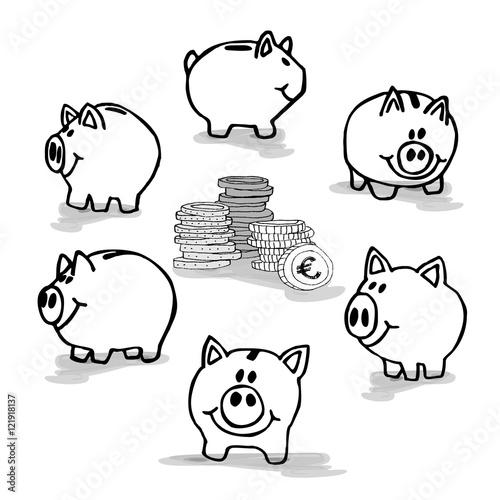 Sparschwein Sparschweine zum ausmalen - Geld Geldhaufen sparen ...