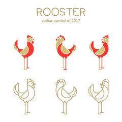 Rooster icons.Vector illustration.