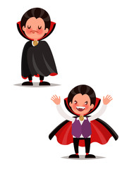 Children's Halloween character. Little Dracula. Vector illustrat