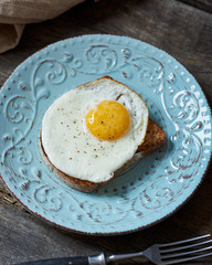 fried egg on toasted bread
