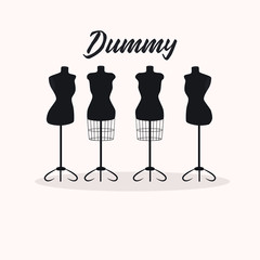 Vintage collection of female mannequins. Silhouettes  figures. Vector illustration