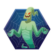 Vector dark blue hexagonal frame with spider web and with cartoon image of funny light green ghost with red eyes flying and smiling on a white background. Halloween. Spirit, fear, terror.