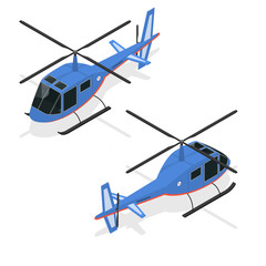 Helicopter Isometric View. Vector