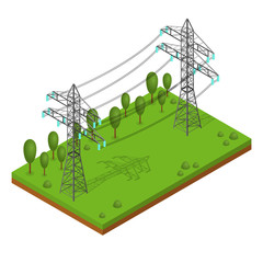 Power Lines Pylons. Vector