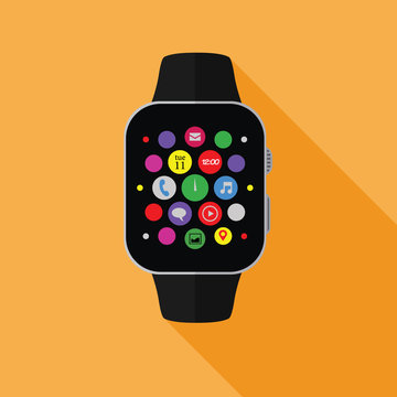 Smart watch with app icons, flat concept with long shadow