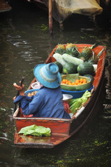 RATCHABURI, THAILAND - NOVEMBER 24: Tropical fruits product in boat for selling at Damnoen Saduak floating market in RATCHABURI THAILAND on NOVEMBER 24, 2013