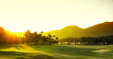 Golf Courses : sunset time.
