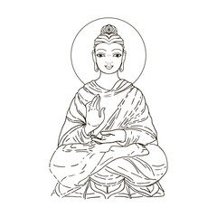 Sitting Buddha isolated on white. Esoteric vintage vector illustration. Indian, Buddhism, spiritual art. Hippie tattoo, spirituality, Thai god, yoga zen Coloring book pages for adults.