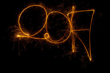 Happy New Year inscription 2017 sparklers