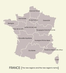 Map of France with the new regions and the new region's name