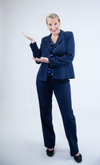 Business Woman Standing with Hands Out