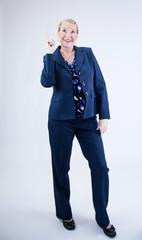 Business Woman with Index Finger In Air
