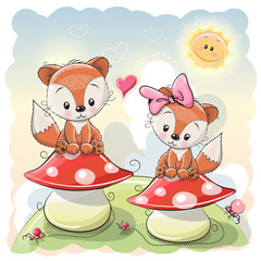 Two Cute Cartoon Foxes