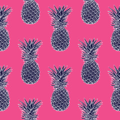 pineapple tropical vector illustration textile print fashion seamless. print in the style retro of 80's.