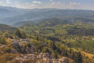 Scenic aerial mountain landscape of the vast Bran-Rucar pass in Transylvania region, Romania. Picturesque travel destinations.