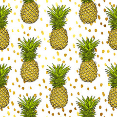 pineapple tropical vector seamless pattern and gold dots background. textile print fashion seamless illustration . print in the style retro of 80's.