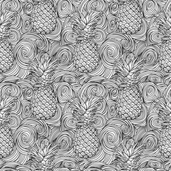 pineapple tropical vector seamless pattern and abstract wave background. textile print fashion seamless illustration . print in the style retro of 80's. perfect for coloring book.
