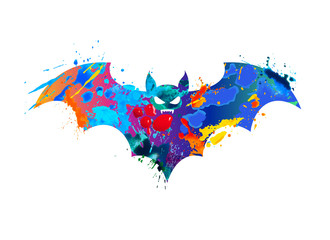 Bat of splash paint on white background